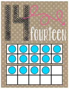 Number Posters ~Numbers 1-20 with Ten Frames and >, < & = To Posters