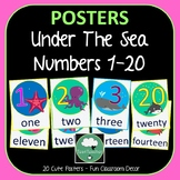 Number Posters OCEAN Counting 1-20 in Numbers and Words Un