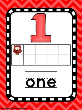 Number Posters - Owl and  Chevron Theme