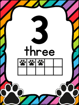 Number Posters Paw Print Theme