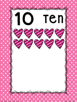 Number Posters: Pink and Black Polk-a-dot and Heart Themed Classroom Decor