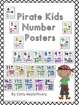 Number Posters: Pirate Kids Theme (Numbers 0-20)