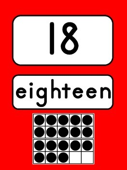 Number Posters:  Red   {0-20 with Ten Frame, Number and Number Word}