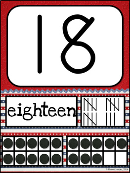 Number Posters (Red, White, and Blue)