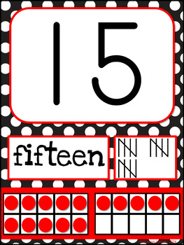 Number Posters (Red and Black Polka Dots)