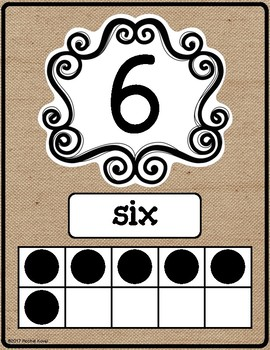 Number Posters - Rustic Classroom Decor