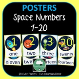 Number Posters SPACE Counting 1-20 in Numbers and Words Sp