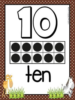Number Posters:  Safari Animal Theme
