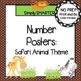Number Posters:  Safari Animal Theme