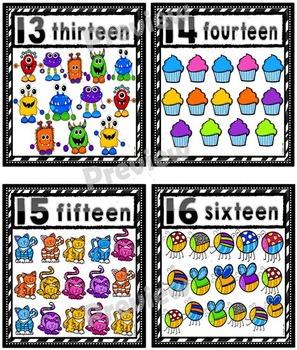 Number Posters Set ~ 1 – 20 {Zebra Frame}