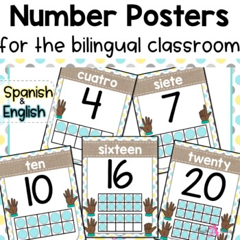 Number Posters   in English & Spanish   Shabby Chic