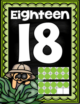 Number Posters Signs 0-20 Ten Frames Jungle Safari Theme