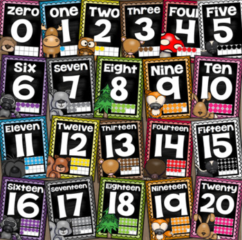 Number Posters Signs 0-20 Ten Frames Woodland Animals Forest Theme