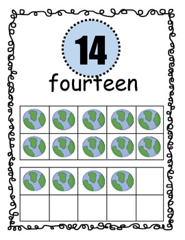 Number Posters Space Theme with Ten Frame