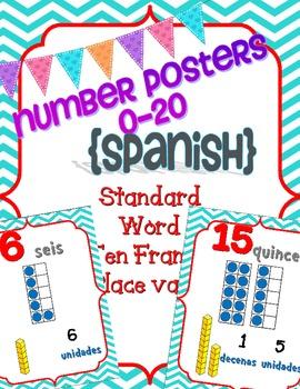 Number Posters Spanish 0-20 w/ Ten Frame, Base Ten