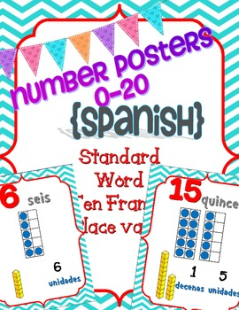 Number Posters Spanish 0-20 w/ Ten Frame, Base Ten