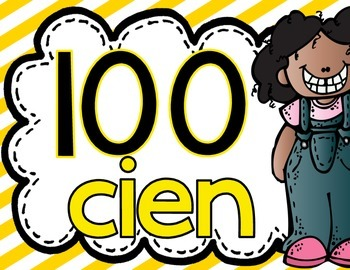 Number Posters Spanish 10 to 100