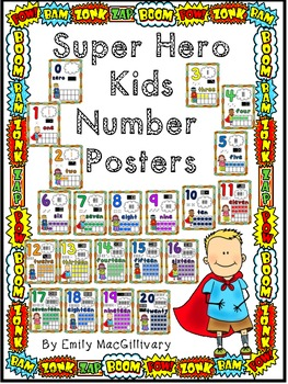 Number Posters: Super Hero Kids Theme (Numbers 0-20)