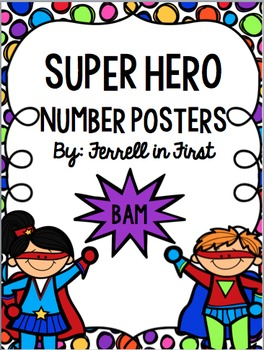 Number Posters: Super Hero theme