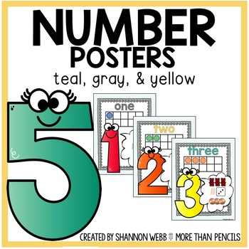 Number Posters (Teal, Gray, Yellow)