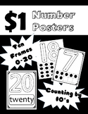Number Posters: Ten Frames 0-20 and Counting by 10's to 100 (Black and White)