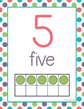 Number Posters 0-20 - Dots, Green, Purple, Teal, Red - Ten Frames