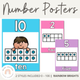 Number Posters with Ten Frames {Rainbow Classroom Decor}