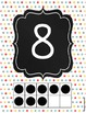 Number Posters - Ten Frames - Teal Red Yellow Grey - Polka Dots - Chalkboard