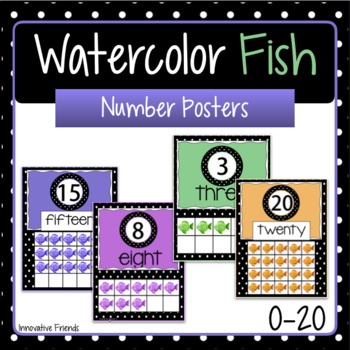 Number Posters Watercolor Fish Theme