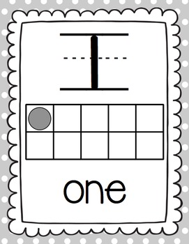 Number Posters: With Ten Frames (Gray)