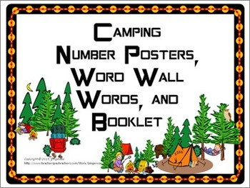 Number Posters, Word Wall Words, and Booklet - Camping theme
