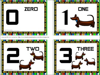 Number Posters, Word Wall Words, and Booklet - Dachshund Dogs theme