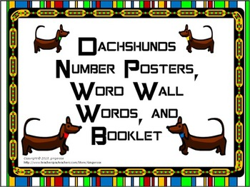 Number Posters, Word Wall Words, and Booklet - Dachshund D