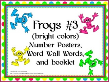 Number Posters, Word Wall Words, and Booklet - Frogs #3 theme
