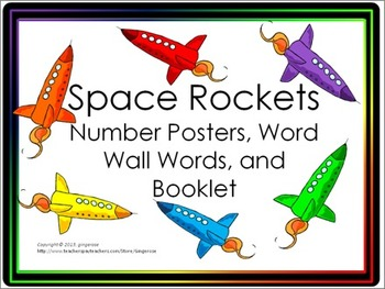Number Posters, Word Wall Words, and Booklet - Rockets theme