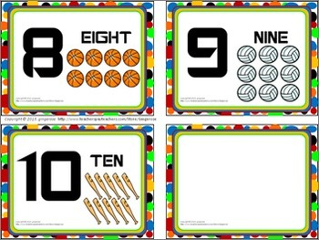 Number Posters, Word Wall Words, and Booklet - Sports theme