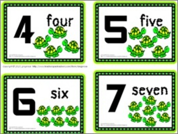 Number Posters, Word Wall Words, and Booklet - Turtle theme