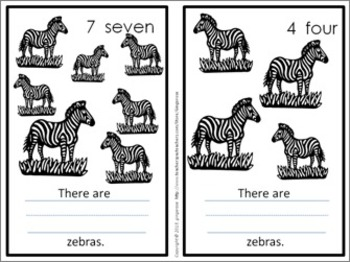 Number Posters, Word Wall Words, and Booklet - Zebra Print theme (black & white)