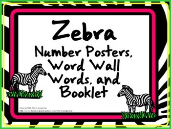 Number Posters, Word Wall Words, and Booklet - Zebra theme (bright colors)