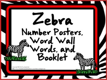 Number Posters, Word Wall Words, and Booklet - Zebra theme (red)