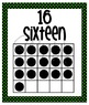 Number Posters - Zero through Twenty -  Black with Bright Green Polka Dots