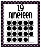 Number Posters - Zero through Twenty -  Black with Pink Polka Dots