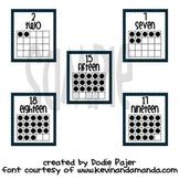 Number Posters - Zero through Twenty -  Black with Vibrant Blue Polka Dots