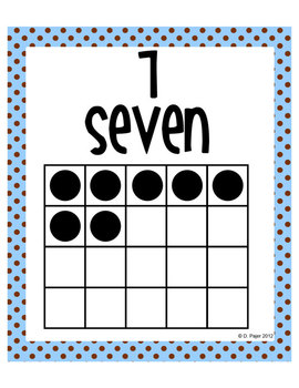 Number Posters - Zero through Twenty -  Blue with Chocolate Brown Polka Dots