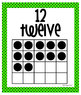 Number Posters - Zero through Twenty -  Bright Green with Black Polka Dots