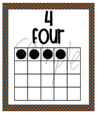 Number Posters - Zero through Twenty -  Chocolate Brown with Blue Polka Dots