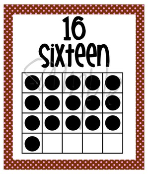 Number Posters - Zero through Twenty -  Chocolate Brown with Pink Polka Dots