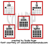 Number Posters - Zero through Twenty -  Red with Black Polka Dots