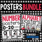 Number Posters and Alphabet plaid design BUNDLE