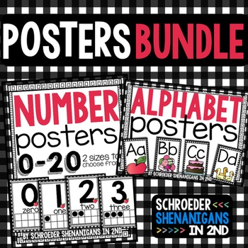 Number Posters and Alphabet plaid design BUNDLE